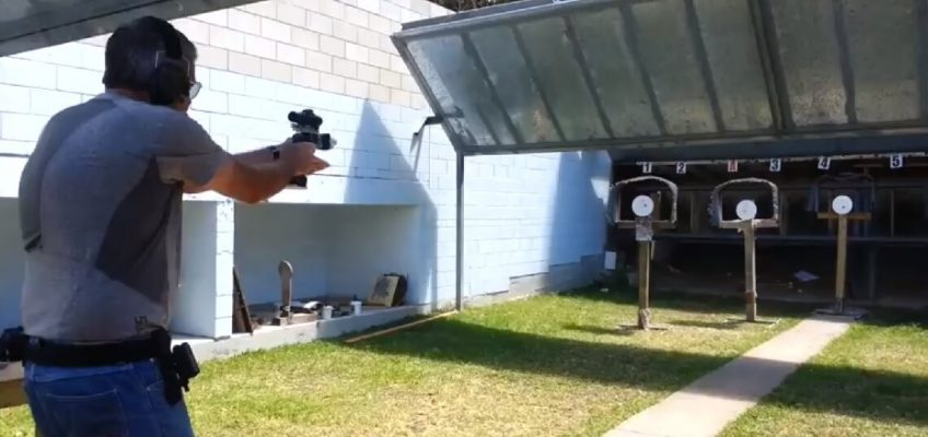 Steel Challenge shooting a .38 Super Calibre STI with a Red Dot